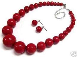 """Beaux colliers à vendre-Belle 6-14mm rouge corail rond perles collier boucle d'oreille 18 """"Set"""