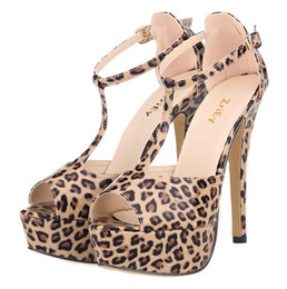 Hot Style Shoes Sexy Leopard peep-toe bind waterproof paint high heels high heels
