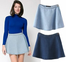 2014 Summer New Women Vintage Retro Classic High Waist Slim Fit Pleated Flared Circle Skater Denim Jeans Casual Mini Skirt
