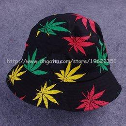 Wholesale Colorful weed leaves Reversible Weed Bucket Hat Boonie Weed leaves Fisherman Hat Hunting Fishing Outdoor Fisher Cap