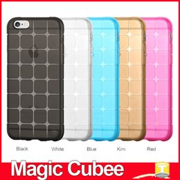 Wholesale Magic Cubee Shape Protective Cube Grid Series Soft Gel TPU Transparent Case For iPhone SE S S Plus Shockproof Clear Back Cover