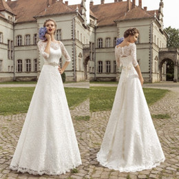 2018 Wedding Dresses Lace With Half Sleeves Custom Made Vintage A Line Floor Length Beaded bridal gowns