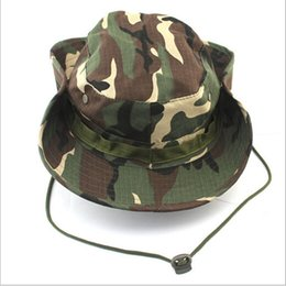 Wholesale-New 16-Colors  Camouflage Bucket Hats Camo Fisherman Hats men With Wide Brim Sun Fishing Bucket Hat Camping Hunting Hat