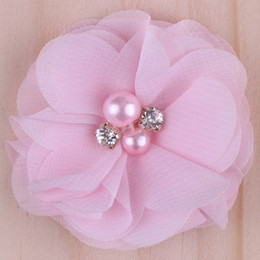 Wholesale 2015 colors Chiffon Flowers With Pearl Rhinestone Center Artificial Flower Fabric Flowers Children Hair Accessories Baby Headbands Flower