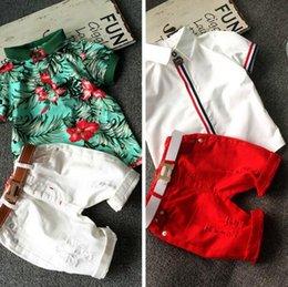Wholesale 2016 fashion new kids clothing set baby boy cotton t shirt short pants children set for summer boy cartoon clothes fits colors T