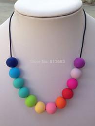 Promotion colliers de perles Vente en gros-Livraison gratuite -Silicone Dentition Collier Bijoux Bubblegum Perles multi