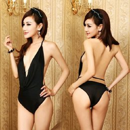 Sexy Women's Black Halter Bikini Pattern Dress Temptation Nightdress