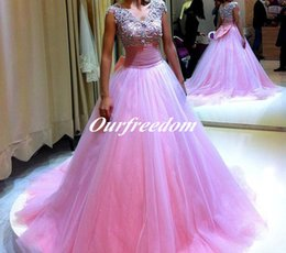 Wholesale Crystal Neck Tie - Lovely Hot Pink Ball Gown Quinceanera Dresses With Bow Tie 2016 V Neck Beaded Floor Length Formal Prom Party Dresses Girls Pageant Gown