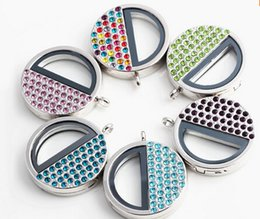2016 diy new arrival 10pcs lot New Arrival 36mm Colorful Rhinestone Magnetic Living Magnet Glass Memory Floating Locket Necklace Pendant