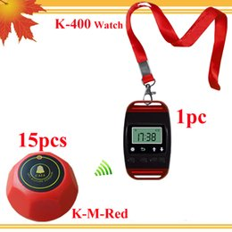 Promotion Wireless Calling Waiter System for Coffee shop Restaurant Service System 1 pc wrist watch with neck rope and 15 pcs red button