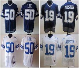 Wholesale Men Cowboys Discount American Football Jerseys Sean Lee Miles Austin White blue Elite Cheap embroidery logo Mix Order