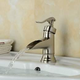 Wholesale And Retail Water Pump Waterfall Spout Bathroom Basin Faucet Nickel Brushed Brass Vanity Vessel Sink Mixer Tap