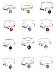Wholesale Birthstone Crystal Pendant of Months Birthstone Alex and Ani Charm Wiring Bracelet expandable bangle