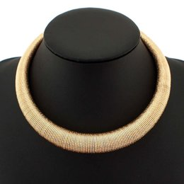 Hot Fashion Shining Gold   Silver Spring Metal Neck Fit Torques Chokers Women Party Wear Short Necklace Statement Jewelry 2015 #2115