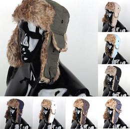 Descuento sombreros trampero Venta al por mayor unisex-Men mujeres Invierno Trapper aviador Trooper orejeras caliente de esquí gorra 7Colors
