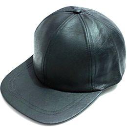 Wholesale winter genuine sheepskin black leather baseball caps hip hop hat cap sports snapback hats for Mens