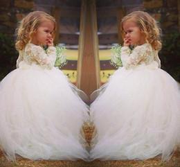 2019 Long Sleeve Lace Sweet Flower Girl Dress For Weddings Vintage Ball Gown Tulle Prom Dresses for arabic dresses Girls