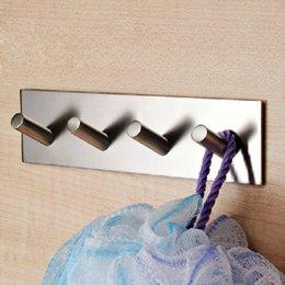 Wholesale 1 Hooks Bathroom Lavatory Self Adhesive Coat and Robe Hook Rack Rail Brushed Stainless Steel
