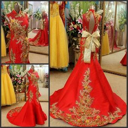 Wholesale Cheongsam Wedding Dress Champagne - Custom made 2015 Amazing Retro cheongsam gold evening dresses red prom dress high neck Evening Gowns Embroidery chinese wedding dress Classy