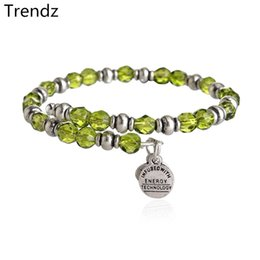 Wholesale Alex Ani Lime Souk Wrap Green Crystal Beaded Bracelets Russian Silver Stainless Steel Expandable Wire Charms Bangle From China AA201533