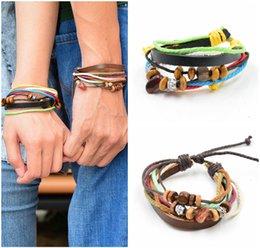 Wholesale Wooden Beads Bracelets Jewelry Mens Leather Bracelets Hemp Material Braided Leather Bracelets For Men Best Lover Gifts