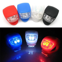 Wholesale Silicone Bike Light Wholesale - Waterproof Bike Bicycle 2 LED Silicone Head Front Rear Wheel Flash Light Black,White,Red,Blue Color