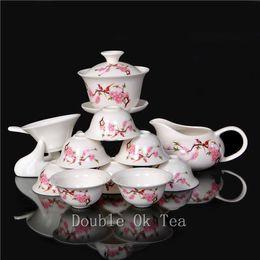Gros-14 Pcs Céramique / Peintures Porcelaine gaiwan Kungfu Tea Cup Set ChineseDehua Peach fleurs en porcelaine Service à thé Vente Livraison gratuite à partir de thé floraison gros en chine fournisseurs