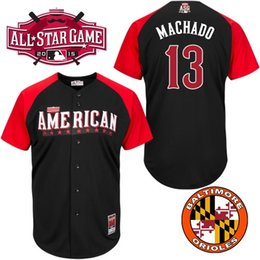 Wholesale 2015 All Star Baltimore Orioles Mens Jerseys American League Manny Machado Black BP Baseball Jersey