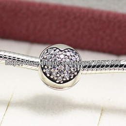 925 Sterling Silver Pave Heart Clip charm Bead with Cubic Zirconia Fits European Pandora Jewelry Bracelets Necklaces & Pendants