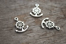 Wholesale 25pcs Anchor Charms Antique Silver Tone anchor with Ship Wheel rudder charm x11mm