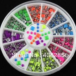 Mix 6 Colors 2 Styles Neon Stud Rhinestone DIY Nail Art Decoration round Wheel NA021