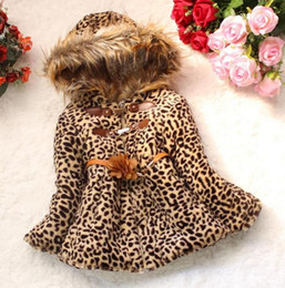 Wholesale Casual Faux Fur Hooded Pad - Hot sale ,New girl winter leopard with thick cotton-padded clothes coat ,Children faux fur coat ,children Take hat clothes, 4pcs lot