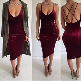 Wholesale Spaghetti Strap Dresses Women - 2016 Nightclub Dresses For Women Sexy Velour Spaghetti Straps Backless Over Hip Bodycon Prom Dresses Free Shipping Wholesale 1961