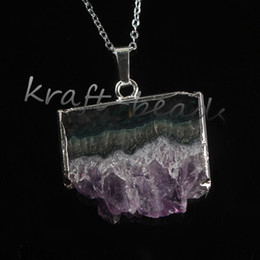 Wholesale 10Pcs Charms Silver Plated Natural Druzy Amethyst Crystal Random Shape Healing Chakra Pendant Necklace Charm Jewelry