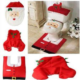 Wholesale christmas products supplies decorations items Santa claus Toilet Seat Cover Bathroom Set ornaments enfeites de natal papai noel