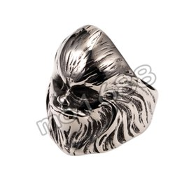 Men Silver Old Man Head Lion Head 316L Stainless Steel Evil Ghost Ring Gothic