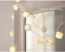 Wholesale 2016 New LED Pure White Rose Flower String Lights Energy saving Christmas Tree Lights Christmas Decoration Holiday Party Garden Lights Y