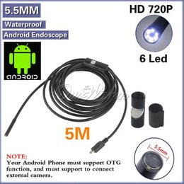 Wholesale Android USB Endoscope LED mm Lens P Waterproof Inspection Borescope Tube Camera with m Length Cable Hook Magnet Side audition