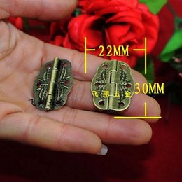 50pcs 30 * 22MM bronze color antique Furniture hinge metal printing small wooden gift box hinge 6 small holes