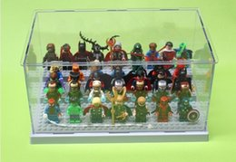 Wholesale 26 cm Building Block Parts Super Heroes Avengers Minifigures Acrylic Display Box Minifigure Showcase Ladder Cabinets Toys