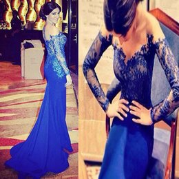 2015 Prom Dresses Lace Evening Long Sleeves Roayl Blue Formal Gowns with Sheer Off the Shoulder Full Length Sleeve Custom Made Sweep Train