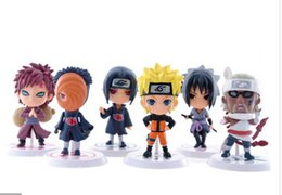 Wholesale-6pcs Full Set Q Edition Naruto Anime Action Figures Collection PVC Naruto Figures Model toy Set Free Shipping
