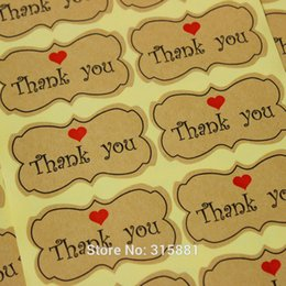 Kraft Thank You Stickers with red heart printing 600pcs lot