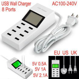 Wholesale 8 Port V A A HUB USB Direct Charger LCD Screen Travel Socket Power Adapter EU US UK Plug Wall Chargers For Mobile phone Tablet PC