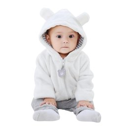 Winter Infant Clothing Tops Newborn Baby Girls Boys Solid Long Sleeve Hooded Thick Fleece Ears Outerwear Jackets Coats 6-24M