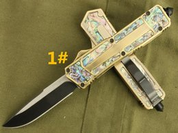 Recommend mi scab gold Abalone shell 4 models Hunting Folding Pocket Knife Survival Knife Xmas gift for men copies 1pcs freeshipping
