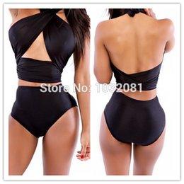 Wholesale Sexy Hot sale Black tummy control Bandage Swimsuit High Waist Bikini set Halter Swimwear Women Bathing Suit Biquini bather V52