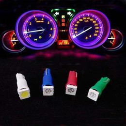 500pcs Free shipping + wholesale +Car Led Light White Red Green Blue Yellow T5 5050 1SMD Auto Dashboard Bulb