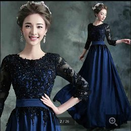 2019 free shipping blue chiffon evening dresses lace appliques with scoop neckline sashes 34 sleeve modest formal prom party evening dress