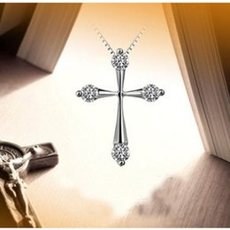 Wholesale ashion Jewelry Pendants Moonso Two Gifts Real Sterling Silver cross Austrian Crystal Necklaces amp Pendants with Chain for Women j